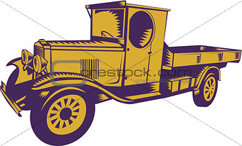 1920s Pick-up Truck Woodcut