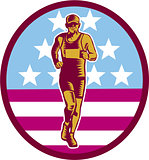 Marathon Runner USA Flag Circle Woodcut