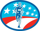 Marathon Runner USA Flag Oval Woodcut