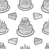 Seamless pattern with hand drawn cakes on white background.