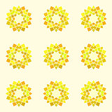Seamless pattern with yellow mandala.