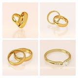 Golden wedding rings set