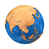 Southeast Asia on wooden Earth