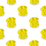 Yellow Coins Seamless Background