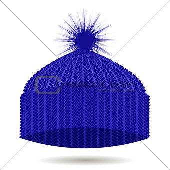 Blue Knitted Cap Isolated. Winter Hat