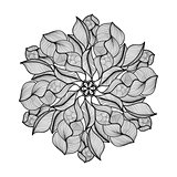 Mandala. Black and white round ornament. Vector illustration.