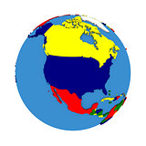 North America on political model of Earth
