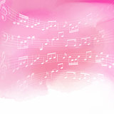 Music notes on watercolor background
