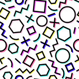Vector seamless geometric pattern. Memphis Style. Abstract 80s.