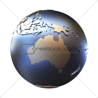 Australia on golden metallic Earth