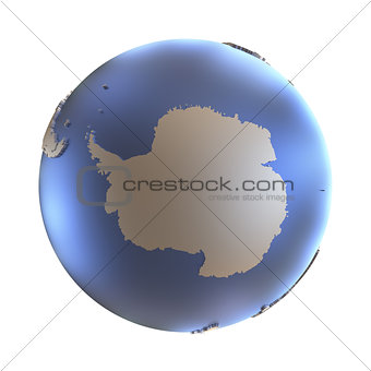 Antarctica on golden metallic Earth