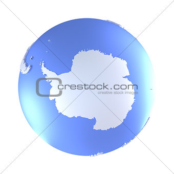 Antarctica on bright metallic Earth