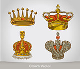 Set of gold crowns isolated on white background . vector