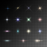 Collection of vector colorful flare light effects.