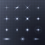 Collection of vector light effects on transparent background.