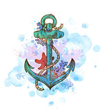 Vintage hand drawn anchor