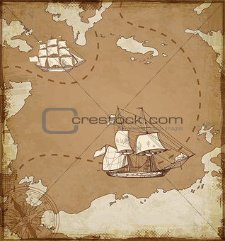 Ancient map with ships.