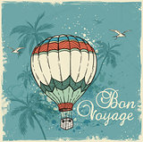 Retro background with air balloon