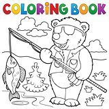 Coloring book bear fisherman theme 1