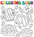 Coloring book coral fish theme 2