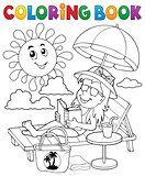 Coloring book girl on sunlounger theme 1