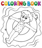 Coloring book girl on swim ring