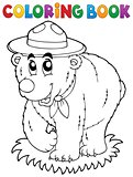 Coloring book happy scout bear