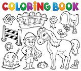 Coloring book jockey and horse thematics