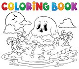 Coloring book pirate skull island