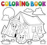 Coloring book scout camping in tent