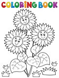 Coloring book with happy sunflowers