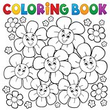 Coloring book with smiling flowers 1