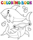 Coloring book with two sharks