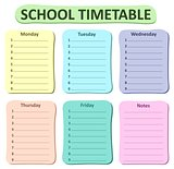 Weekly school timetable theme 1