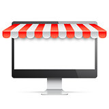 Computer Monitor with Red Awning