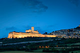 Illuminated cityscape Assisi basilica and monastery