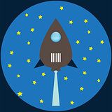 Rocket flat illustration blue colors