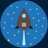 Rocket flat illustration blue colors