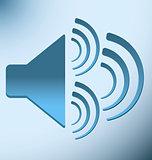 loud blue speaker with three vibration