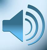 loud blue speaker with vibration