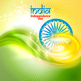 Indian Independence Day concept background with Ashoka wheel.