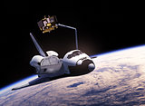 Space Shuttle Deploying Communication Satellite