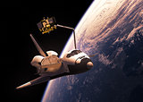 Space Shuttle Deploying Satellite