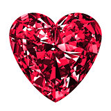 Ruby Heart Over White Background.