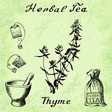 Herbal tea, thyme, mortar and pestle, bag, tea bag.