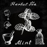 Herbal tea, mint, mortar and pestle, bag, tea bag. Chalk board. Botanical drawing.