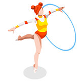 Gymnastics Rhythmic Hoop 2016 Sports 3D Vector Illustration