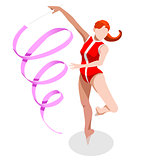 Gymnastics Ribbon 2016 Sports 3D Vector Illustration
