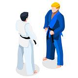 Judo Fight 2016 Sports 3D Isometric Vector Illustration