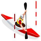 Kayak Slalom 2016 Sports Isometric 3D Vector Illustration